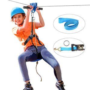 Klokick Zip Line Kit mit Edelstahl-Federbremse und Sitz-ZipLines für Kinder und Erwachsene 30m Bis zu 113kg