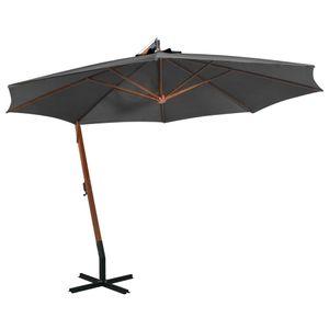 Ampelschirm 350 cm mit mast ,Schirmmast aus massives tannenholz und Bambus, sonnenschirm in Anthrazit