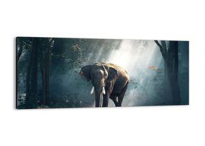 "Leinwandbild - 120x50 cm - ""Ein gemütlicher Spaziergang""- Wandbilder - Elefant Wald Dschungel - Arttor - AB120x50-3972"