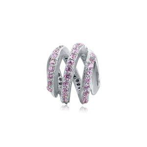 PANDACHARMS Rosa Spirale Charm 925 Silber passt zu Pandora Moments