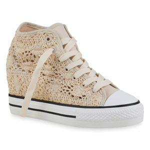 Mytrendshoe Damen Sneaker Sportliche Schnürer Spitze Keilabsatz Schuhe 835038, Farbe: Creme, Größe: 40