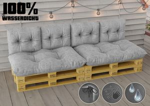 Wasserdicht Palettenkissen Set Palettensofa EPAL Sitzkissen Rückenkissen 120x80 cm 60x40 cm In/Outdoor 6 ER Set - HELLGRAU