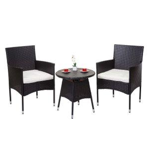Poly-Rattan Balkonset HWC-G27, Sitzgarnitur Gartengarnitur, 2xSessel+Tisch  braun, Kissen creme