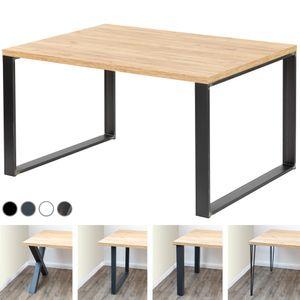 LAMO Manufaktur Schreibtisch Computertisch Tisch Esstisch 138x100x76 cm (LxBxH), Spanplatte/ Modern, Eiche Gold / Schwarz
