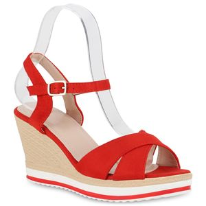 Mytrendshoe Damen Plateau Sandaletten Keilabsatz Schuhe High Heels Wedges 826205, Farbe: Rot, Größe: 40