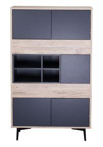 SIT Möbel Highboard | 5 Türen, 4 offene Fächer | MDF dunkel anthrazit mit natur | Beine Metall | B 78 x T 39 x H 130 cm | 11754-95 | Serie MAILBOX