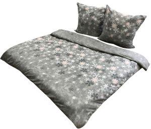 Flausch Bettwäsche Thermofleece 200x200 cm + 80x80 cm grau weiß Schneeflocken Winter mit Reißverschluss, 3-tlg