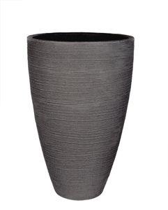 XXL Pflanzkübel in Granitstein-Optik - Rillentopf rund - 60x40cm - Outdoor Blumenkübel - 47 Liter