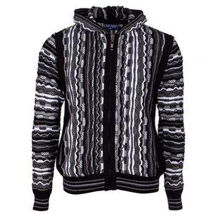 Cascallo Strickjacke Tony - Kapuzen Pullover mit Reißverschluss für Herren, Größe: S, Farbe: Schwarz-Weiß