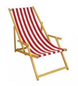 Liegestuhl rot-weiß Gartenliege Sonnenliege Strandstuhl Klappstuhl Deckchair Buche natur 10-314N
