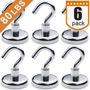 Heavy Duty Magnethaken, starke Neodym Magnet Haken für Zu Hause, Küche, Arbeitsplatz, Büro und Garage, halten bis zu 80 Pfund; Packung mit 6