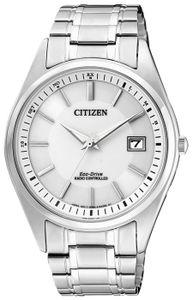 Citizen AS2050-87A Funkuhr Eco Drive Uhr Herrenuhr Datum Silber