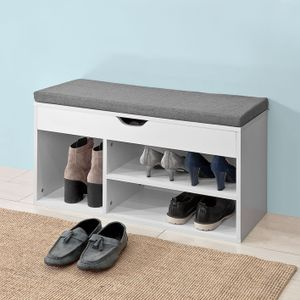 SoBuy® Schuhbank mit Sitzkissen;Sitzbank;Schuhschrank,Weiß,FSR45-HG