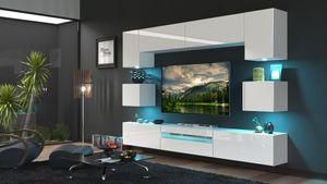 Mediawand Wohnwand 9 tlg - SENOX 1 - Weiss Hochglanz inkl.LED