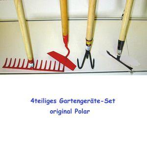 Polar Gartengeräte-Set 4tlg. mit Stiel Harke Unkrauthacke Grubber Fugenkratzer