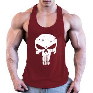 Herren Totenkopf Fitness Bodybuilding Tank Top Weste Ärmelloses Hemd T-Shirt,Farbe: Rotwein,Größe:XL