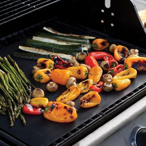 Grillmatten dauer antihaft BBQ Fettarmes Grillen Matte Bratfolie Unterlage Backmatte NON-Stick Sommer Garten Camping (Schwarz 3er Packung)