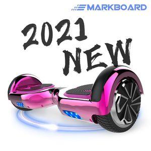 MARKBOARD Hoverboard,Elektro Scooter 6,5 LED E-Balance Scooter mit Motorbeleuchtung und Bluetooth chrome rosa E-Skateboard Elektroroller