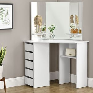Juskys Schminktisch Nova | Kosmetiktisch mit Spiegel, Schubladen und Fächern | weiß lackiert | MDF Holz | Mädchen Frauen Kinder Frisiertisch