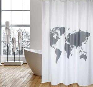 """Cotexsa by MSV Premium Anti-Schimmel Textil Duschvorhang - Anti-Bakteriell, waschbar, 100% wasserdicht, mit 12 Duschvorhangringen - Polyester, """"Welt"""" Weiß 180x200cm –  Spain"""