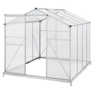 Juskys Aluminium Gewächshaus mit Fundament für Garten | 4,75 qm | 190 × 253 cm | 1 Dachfenster & Schiebetür | 4 mm Platten