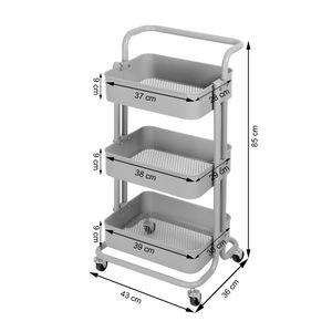 Küchentrolley Küchenwagen Rollwagen Servierwagen Metall für Küche Bad Büro 4 Farben Kingpower, Farbe:Beige
