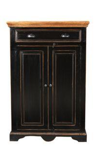 SIT Möbel Highboard | 2 Türen, 1 Schublade | Mango-Holz schwarz | Deckplatte honigfarben | B 80 x T 38 x H 120 cm | 05869-11 | Serie CORSICA