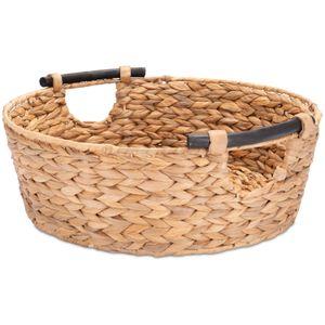 Decorasian Wäschekorb, geflochten aus Wasserhyazinthe / Seegras - rund, 42 cm - nachhaltige Aufbewahrung, Wäschewanne, Spielzeugkorb, Katzenkorb