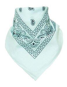 BOOLAVARD 100 % Baumwolle 1pcs, 6pcs oder 12pcs packen Bandanas mit Original Paisley Muster Farbe Wahl Kopfbedeckung / Haare (White)