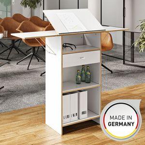 Stehpult Schreibtisch Arbeitstisch Bürotisch Schreibpult 65 x 130 x 37 cm Weiß