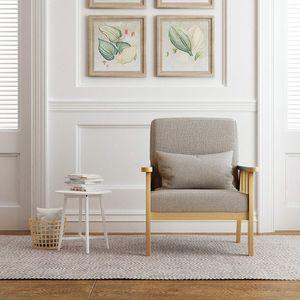 Meerveil Sessel, Polstersessel mit Leinen Massivholzrahmen, Retro Sofa, Couch mit Kissen für Schlafzimmer, Wohnzimmer, Balkon oder Büro, Hellgrau