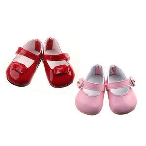 2 Paar Schöne Sticky Strap Schuhe Für 43 cm Zapf Baby Born Puppen Zubehör - Pink + Rot