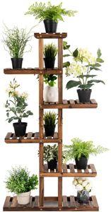 COSTWAY Pflanzenregal Blumenregal, Blumenstaender Garten, Blumentreppe Holz, Pflanzentreppe mehrstoeckig, Holzregal 75x25x140 cm