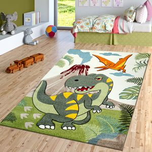 Kinderzimmer Kurzflor Teppich Dinosaurier Motiv Konturenschnitt Grün Modern, Größe:120x170 cm