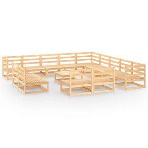 MöbelⒶ 14-tlg. Garten-Lounge-Set Gartenmöbel Sitzgruppe Balkonmöbel wetterfest Massivholz Kiefer