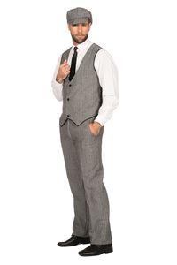 20er Jahre Peaky Blinders Anzug Schwarz-Weiß LANGE HOSE Herren Kostüm, Größe:48