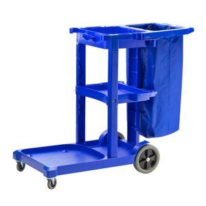 Putzwagen Reinigungswagen mit Mülleimer mit Rollen für Büro Firma Hotel blau