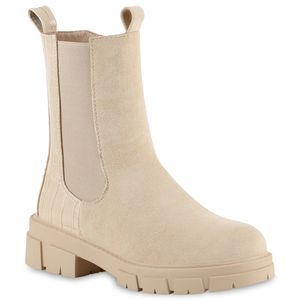 VAN HILL Damen Stiefeletten Plateau Boots Stiefel Schuhe 836410, Farbe: Khaki Velours, Größe: 38