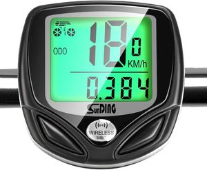 Fahrradcomputer Kabellos Drahtloser Wasserdichter Radcomputer mit Stoppuhr,16 Funktionen Geschwindigkeit Fahrradtacho,Radcomputer Tacho,Tachometer,Hintergrundbeleuchtung LCD Display (Schwarz)