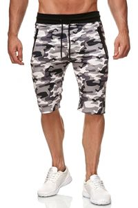 Max Men Herren Sweat Shorts Tarnmuster Jogging Hose Sport Pants H2285, Farben:Weiß, Größe Shorts:S