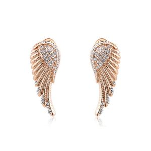 Damen Ohrstecker Ohrringe Flügel Wings Engelsflügel vergoldet Zirkonia Kristall rosegold