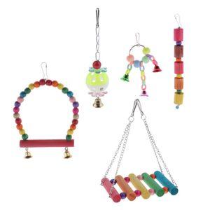 5pcs Bunte Vogelspielzeug Glockenball Schaukel Hängematte Set für Papageien Wellensittiche Nymphensittiche Kanarienvogel Kakadus Aras Käfig