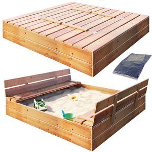 Sandkasten Sandbox mit Deckel SITZBÄNKEN Sandkiste 120x120CM Holz Schüsseln