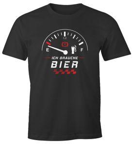Herren T-Shirt Ich brauche Bier Tankanzeige lustiges Party Shirt Saufen Bier Moonworks® anthrazit L