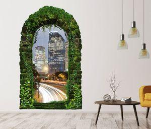 3D Wandtattoo Garten Tor Dschungel Skyline Houston Texas Stadt USA Pflanzen Tür Gewölbe Wand Aufkleber Wandsticker 11FB232, Größe in cm:55cmx90cm