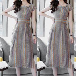 Fashion Women Stripe Printing Gabel Öffnung Kurzarm O-Ausschnitt Knielanges Kleid Größe:L,Farbe:Ocker