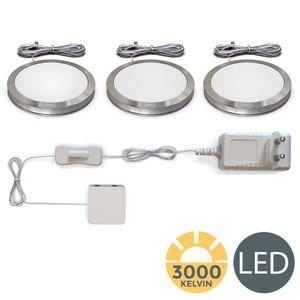 LED Unterbauleuchten Schrankleuchten inkl. 6W 510 Lumen Warmweiß Küchenlampen Vitrinenbeleuchtung 3er SET B.K.Licht
