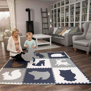 Hakuna Matte große Puzzlematte für Babys 1,8x1,8m – 9 XXL Platten 60x60cm mit Tieren – +20% dickere Baby Spielmatte