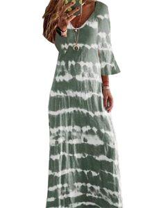 Langes, böhmisches Kleid mit langem Rock und Farbverlauf in Damenfarbe mit langem Ärmel,Farbe: Grün,Größe:4XL