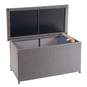 Poly-Rattan Kissenbox HWC-D88, Gartentruhe Auflagenbox Truhe  Basic grau, 51x115x59cm 250l
